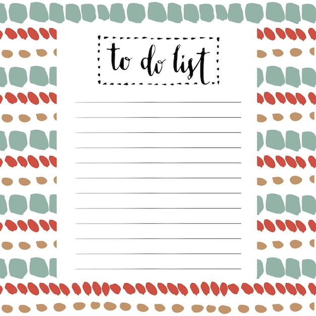 handwriting to do list vector cute blank with lettering vector