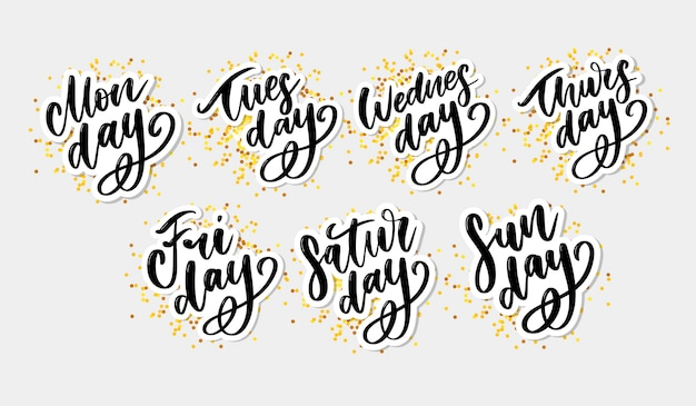 Handwritten days of the week. ink font. stickers for planner and other. Premium Vector