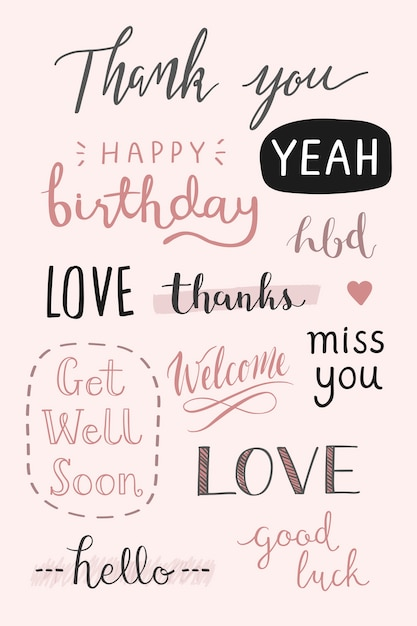 Handwritten greetings typography set Free Vector