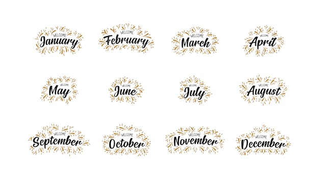 Handwritten names of welcome  months with lettering Premium Vector
