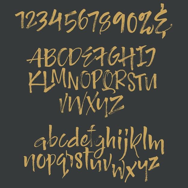 필기 스크립트 글꼴 브러시 글꼴. 대문자, 숫자, 문장 부호 무료 벡터