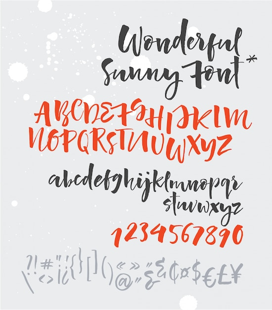 Handwritten script font. brush font. uppercase, numbers, punctuation Free Vector