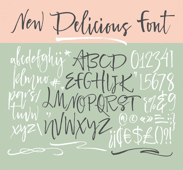 Handwritten Script Font Brush Uppercase Numbers Punctuation Free Vector