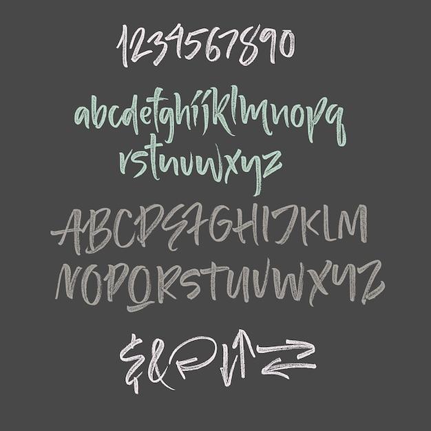 Handwritten script font. brush font. uppercase, numbers, punctuation Free Vector
