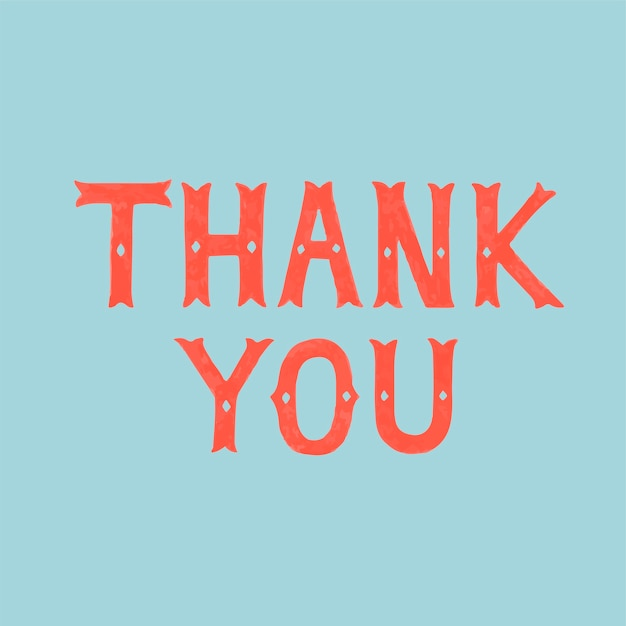 Handwritten style of thank you typography Free Vector