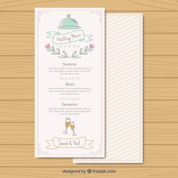 Handwritten wedding menu Free Vector