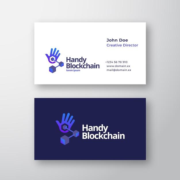 Handy blockchain technology абстрактный векторный логотип и шаблон визитной карточки Premium векторы