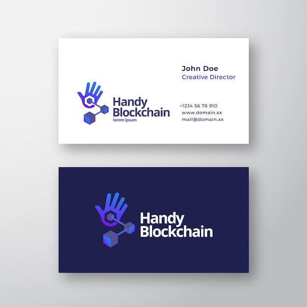 Handy blockchain technology abstract vector logo and business card template Premium Vector