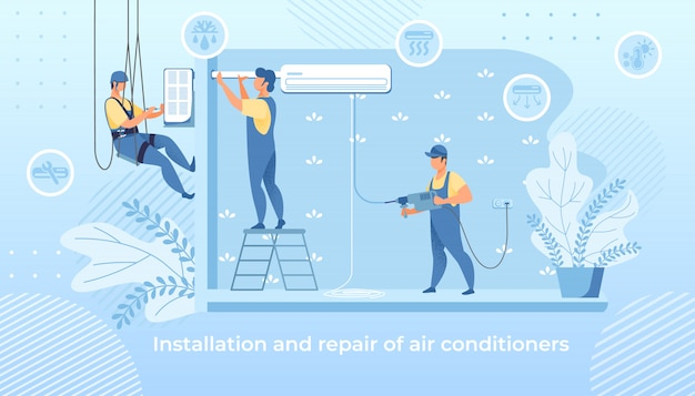 Handy men installation and repair air conditioner Premium Vector