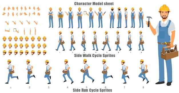 Handyman character model sheet with walk cycle and run cycle animation sequence Premium Vector