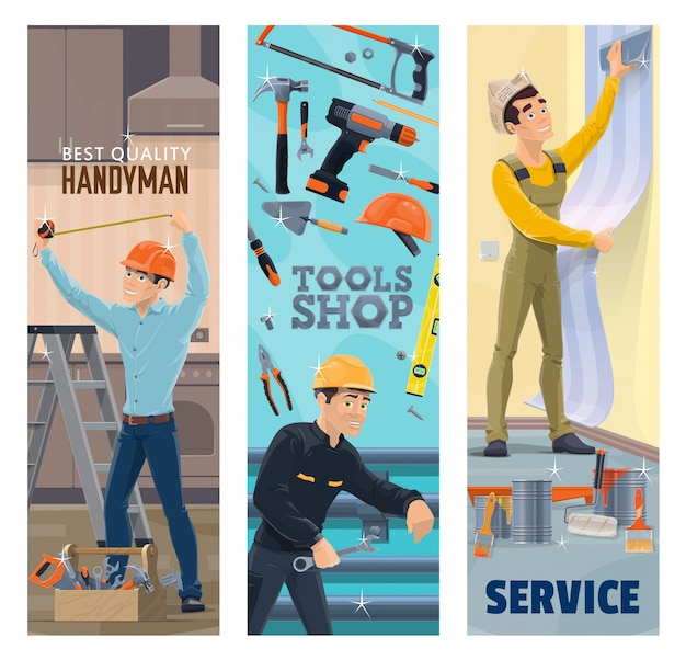 Premium Vector Handyman Plumber Painter And Decorator With Tools Banners Construction Plumbing House Repair And Painting Service Workers Toolbox Hammer Drill And Paint Wallpaper Tape Measure Wrench