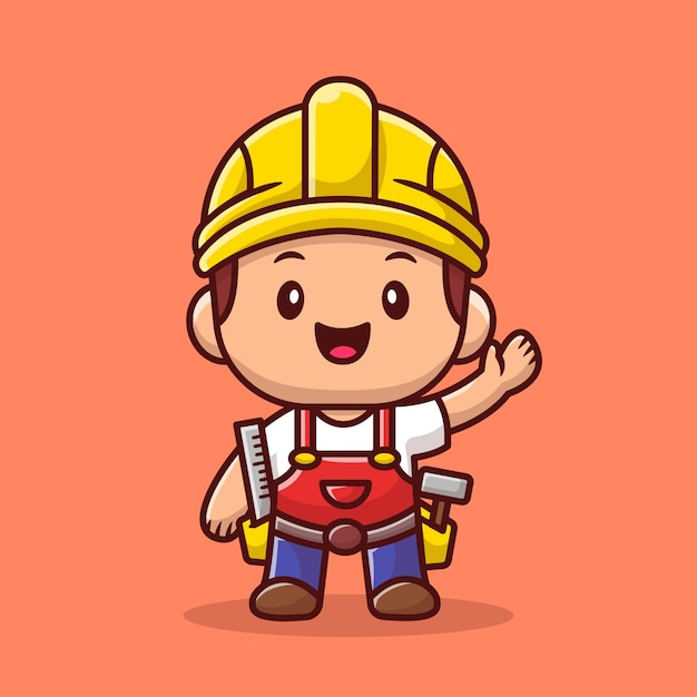 Handyman with ruler and hammer   icon illustration. people profession icon concept   . Premium Vector