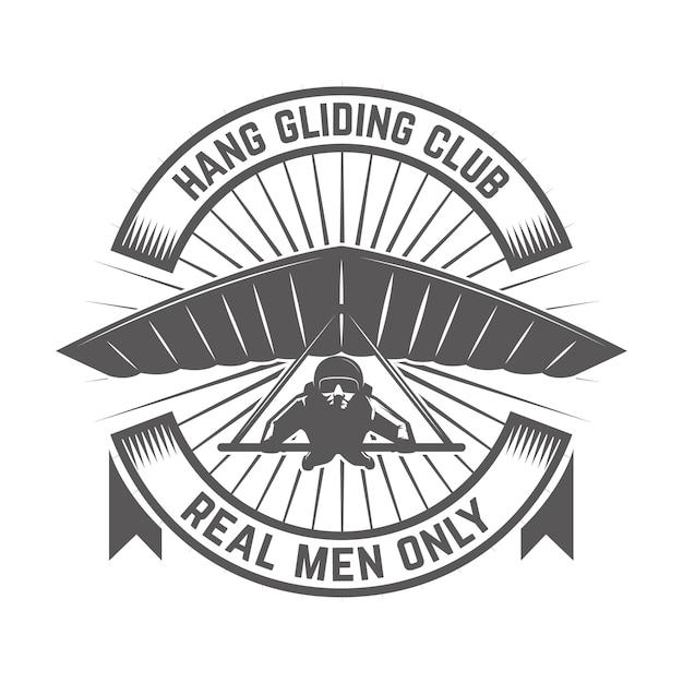 ハンググライダークラブエンブレムテンプレート。ロゴ、ラベル、エンブレム、記号の要素。図 Premiumベクター