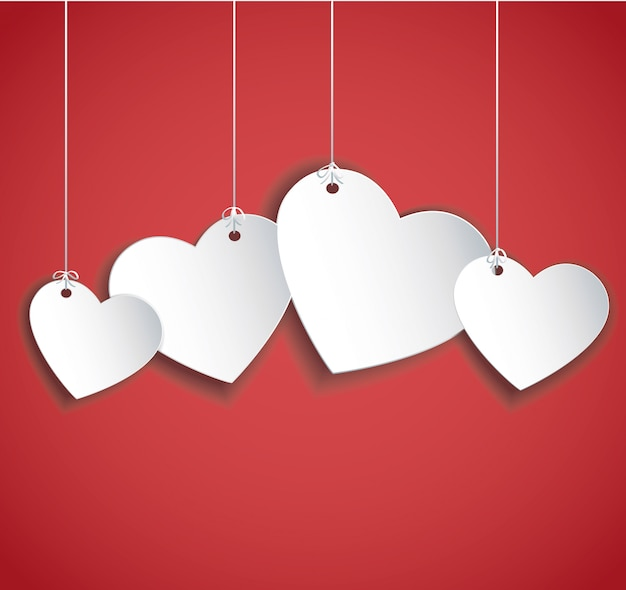 Hang hearts Premium Vector