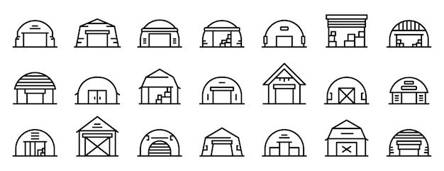 Hangar icons set, outline style Premium Vector
