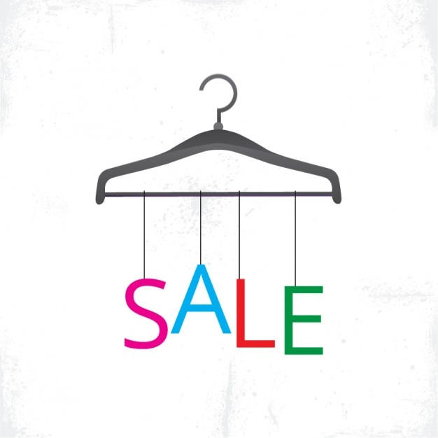 Hanger with sale letters hanging Free Vector