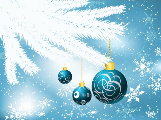 Hanging baubles on bokeh background Free Vector