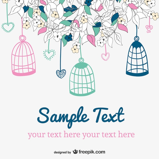 Hanging bird cages card Free Vector