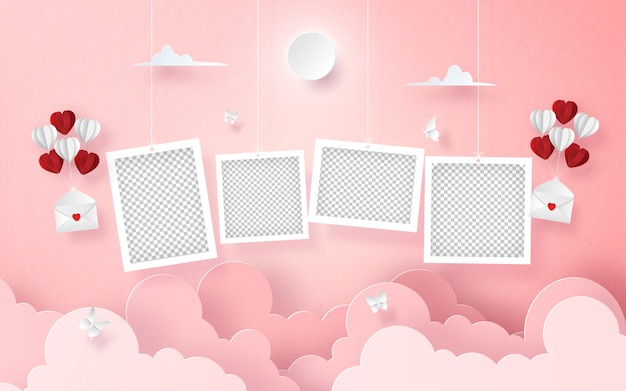 Hanging blank photo on the sky with letter and balloon Premium Vector