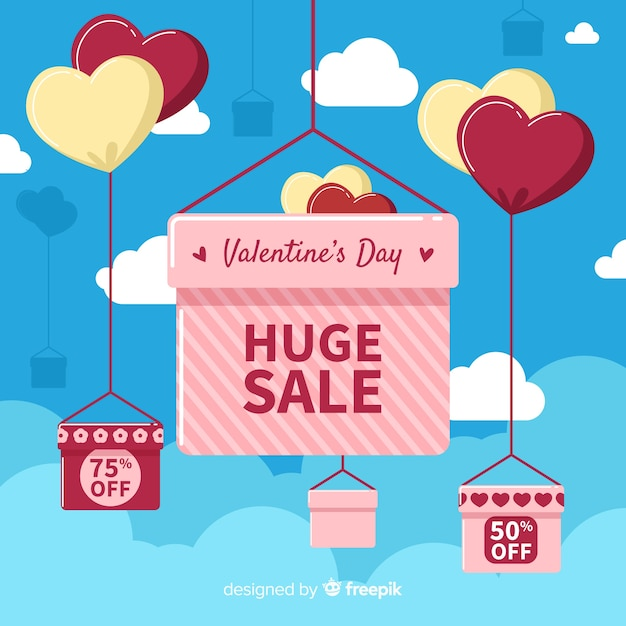 Hanging boxes valentine sale background Free Vector