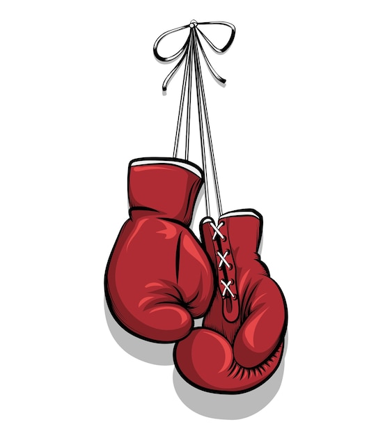 Hanging boxing gloves. equipment for competition, protection hand. vector illustration Free Vector