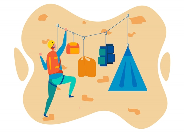Hanging camp on cliff cartoon character Premium Vector