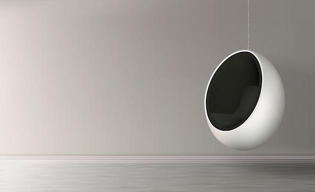 Appendendo sul vettore realistico della sedia dell'uovo a catena Vettore gratuito