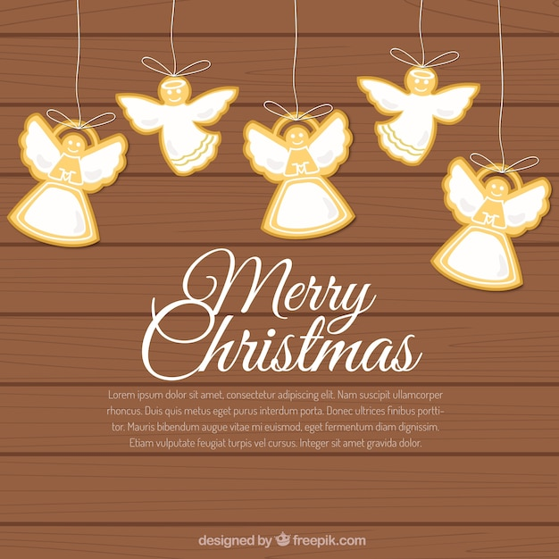 Angels Christmas Background.Hanging Christmas Angels Background Vector Free Download