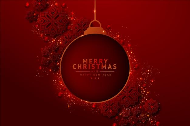 Подвесной новогодний шар фон с эффектом блеска Бесплатные векторы