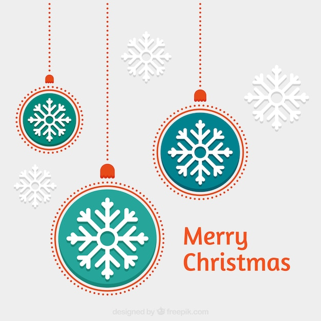Hanging christmas baubles background Free Vector