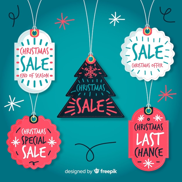 Hanging christmas sale labels Free Vector