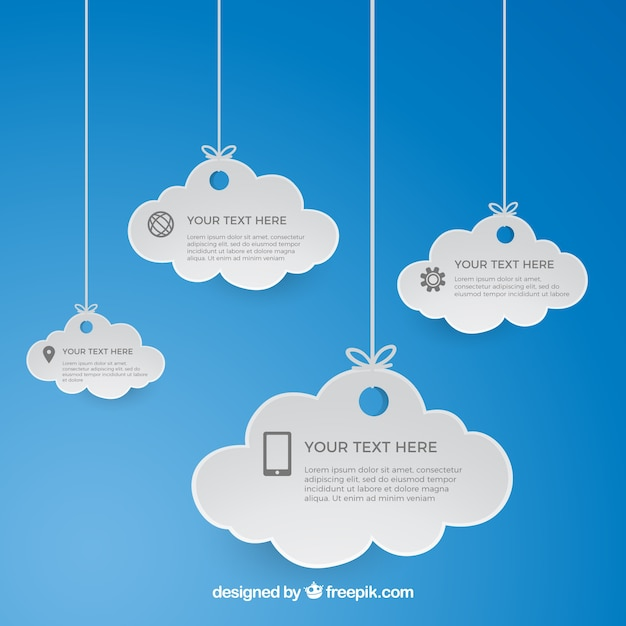 Hanging cloud computing template Free Vector