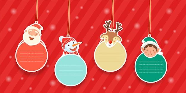 산타 클로스, 눈덩이, 순록 및 산타 도우미와 함께 매달려있는 요소. 무료 벡터