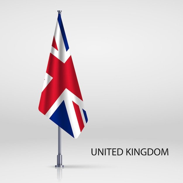 Premium Vector Hanging Flag On Flagpole Template