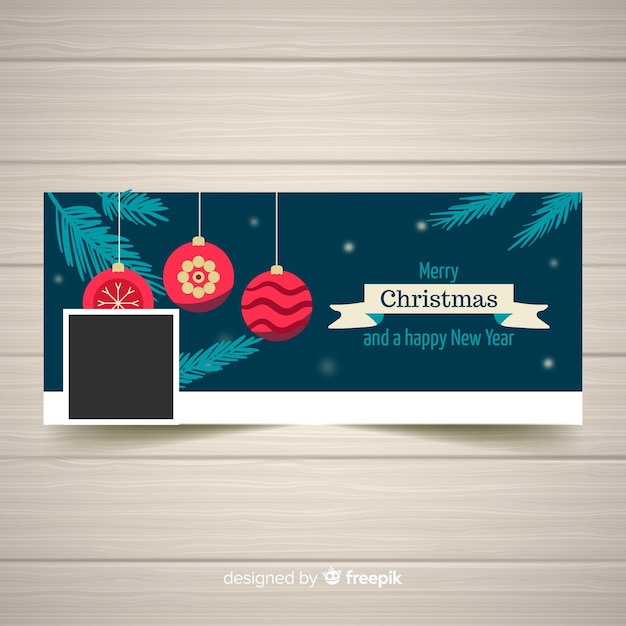 Hanging flat balls christmas facebook cover Free Vector