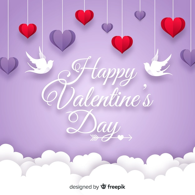 Hanging hearts valentine background Free Vector