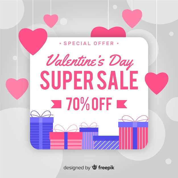 Hanging hearts valentine sale background Free Vector