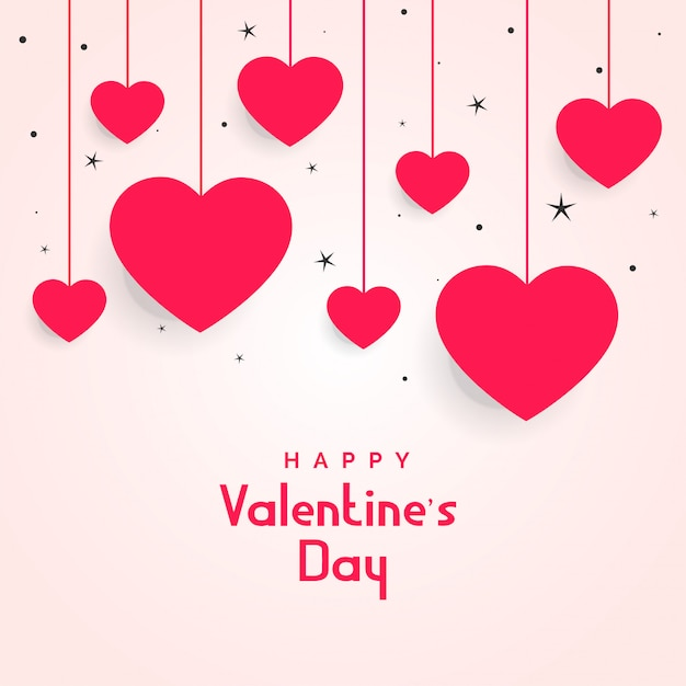 Hanging hearts with stars for valentines day Free Vector