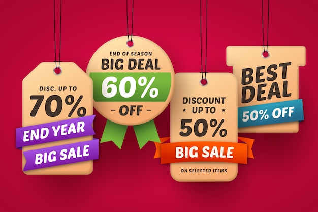 Hanging label collection for best deals limited edition Free Vector