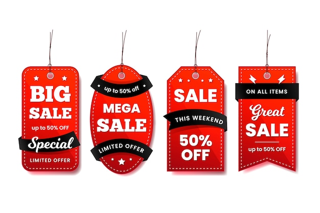 Hanging label collection in red and black ribbons Free Vector