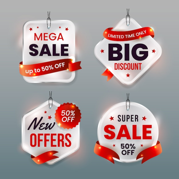Hanging label collection in white and red ribbons Premium Vector