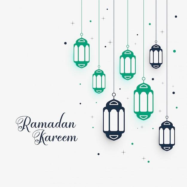 Hanging lamps decoration for ramadan kareem Free Vector