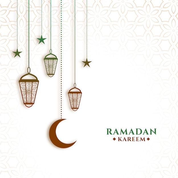 Hanging lanterns and moon ramadan kareem background Free Vector