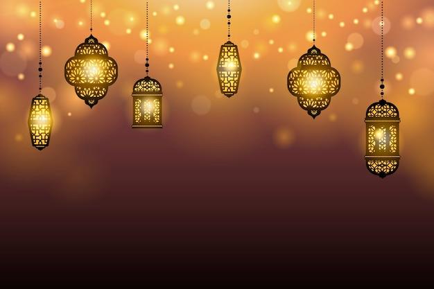 Подвесные фонари на фоне Premium векторы
