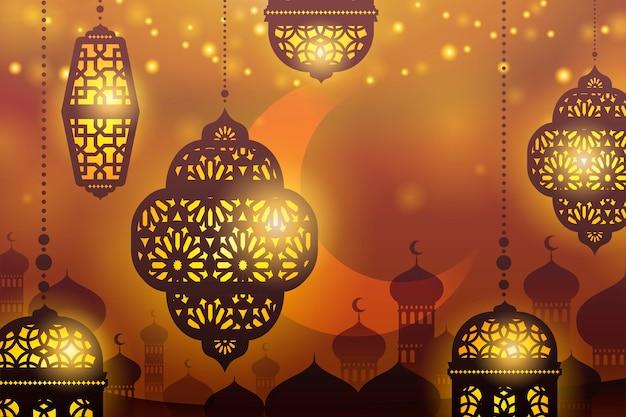 Подвесные фонари на фоне силуэта мечети Premium векторы