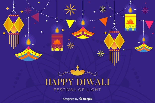 Hanging lights flat diwali background Free Vector