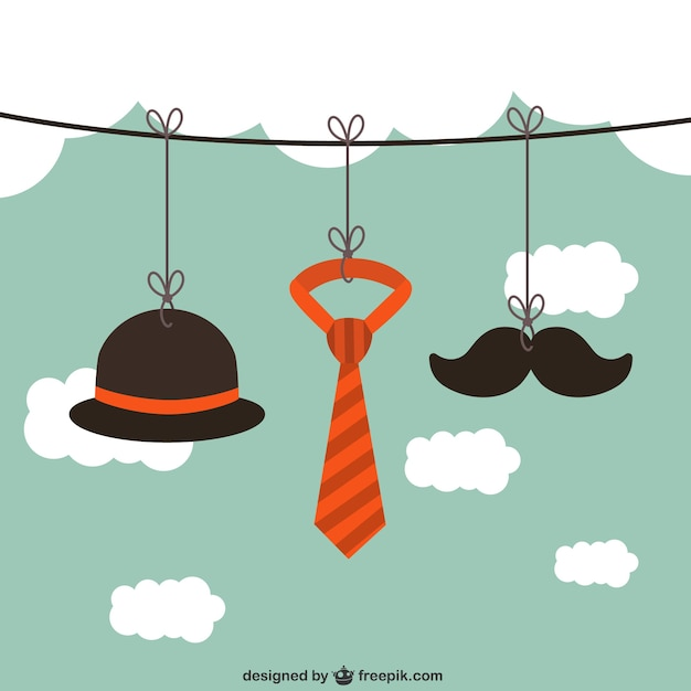 Hanging male accesories on a rope Free Vector