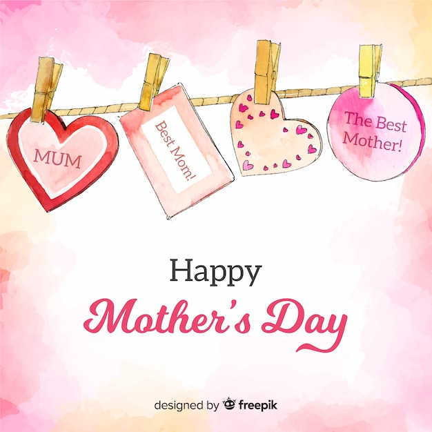 Hanging messages mother's day background Free Vector