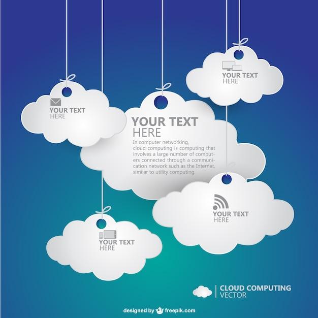 Hanging paper clouds Free Vector