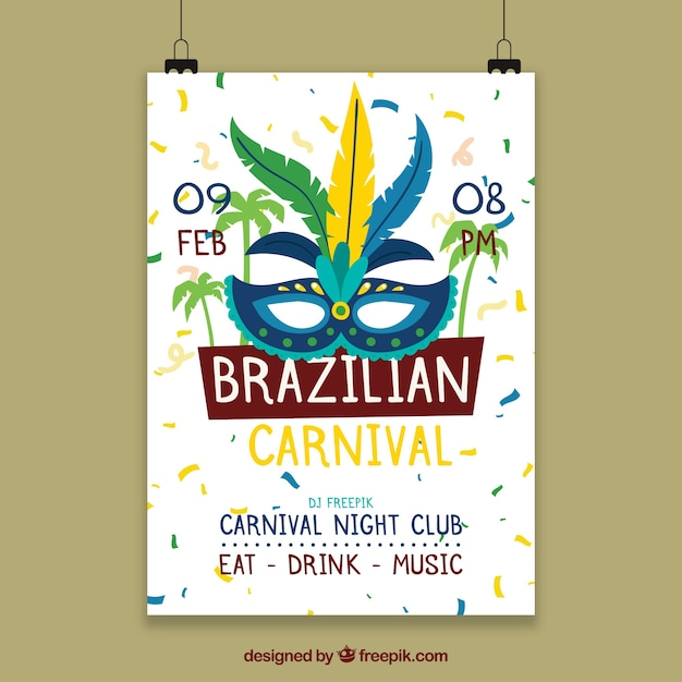 hanging poster template for brazilian carnival vector free download